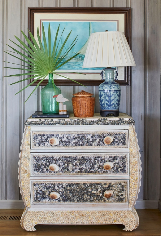 Seashell Decorated Covered Dresser