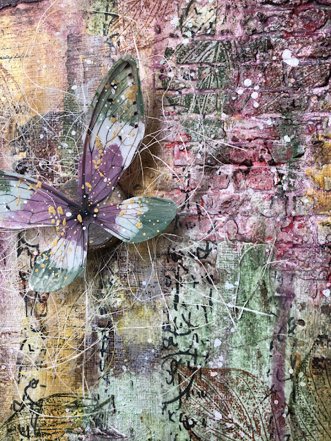 Textured Canvas with PaperArtsy Fresco Paint, Seth Apter Izink Ice, Tim Holtz Transparent wings