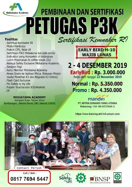 Petugas P3K (First Aid) murah tgl. 2-4 Desember 2019 di Jakarta. Promo 3 juta murah...