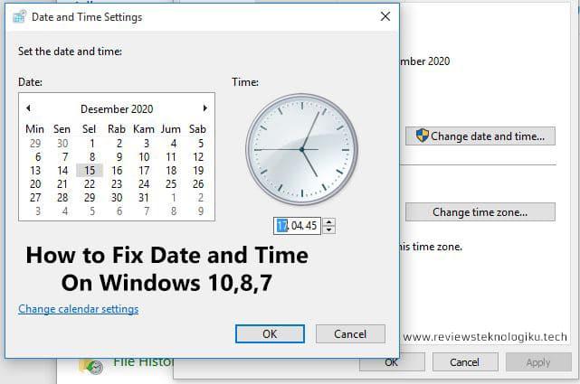 cara mengatur tanggal di laptop