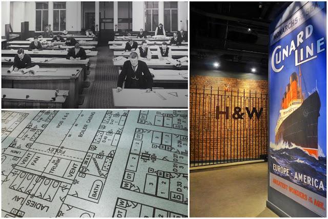 Sala de planos y astilleros Harland and Wolff  en la exposición del Museo del Titanic en Belfast