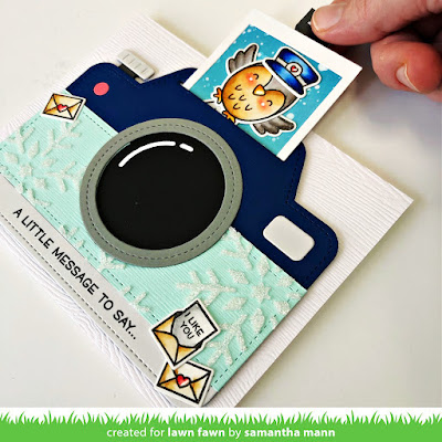 Winter Camera Interactive Card by Samantha Mann for Lawn Fawn, Magic Iris Camera, Interactive, Stencil, Snowflakes, Owl, Special Delivery, #lawnfawn #magiciriscamera #interactivecard #cardmaking #cards #specialdelivery #diecutting #pulltab
