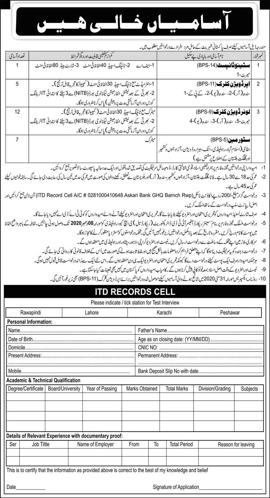 ITD Record Cell GHQ Pakistan Army Jobs
