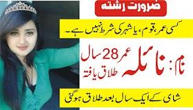 28 Years Age Name Naila divorced arjnat zaroorat rishta