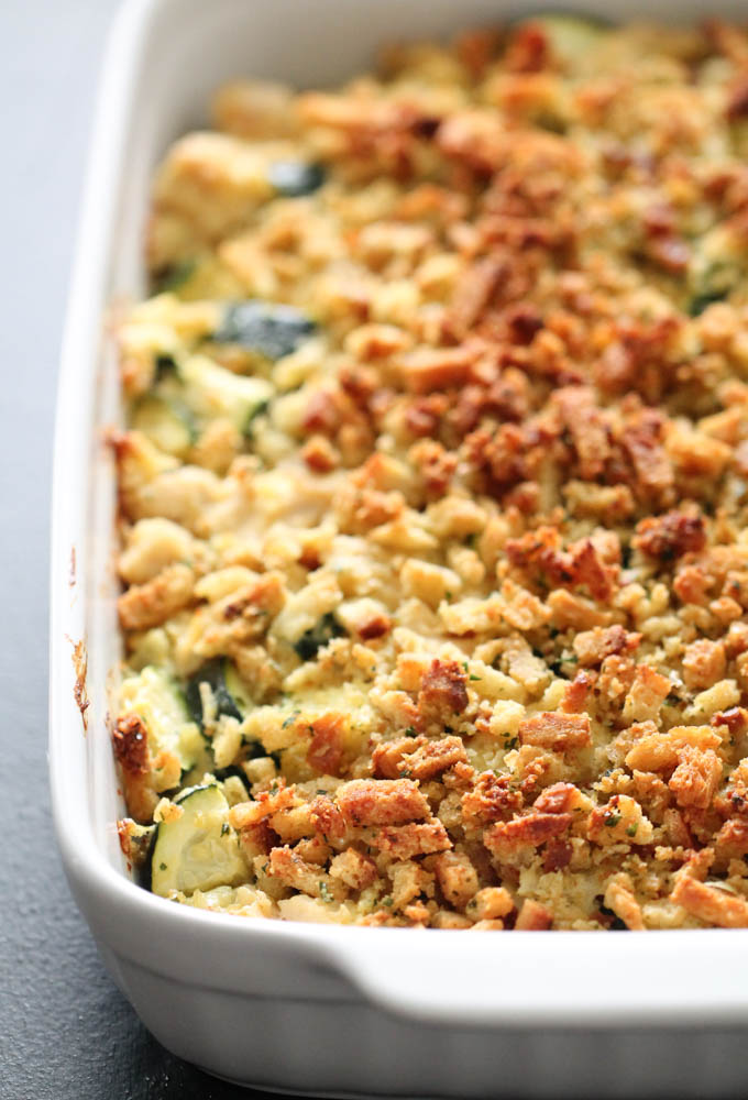 This delicious comfort food is made with chicken and zucchini tossed in a cream sauce and topped with stuffing and cooked to perfection.