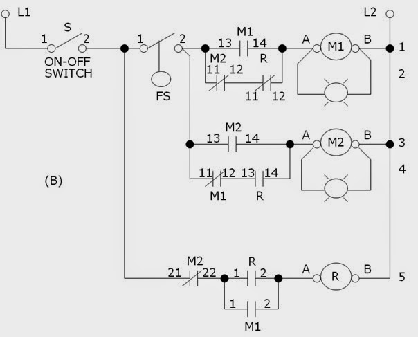 alternate operation of two motor pumps motor control operation motor control circuit diagram with plc Motor Control Circuit alternating motor control wiring diagram