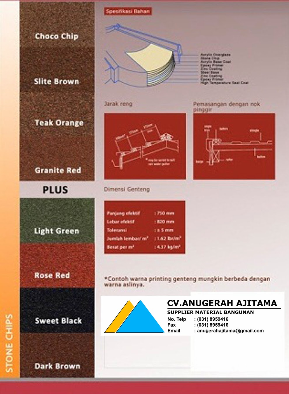 PILIHAN WARNA GENTENG METAL GLOBAL