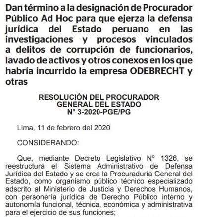Ministerio de Justicia separa a Jorge Ramírez del caso Lava Jato