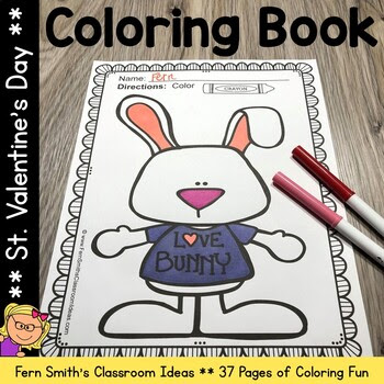 37 Pages of Valentine's Day Fun for your classroom! Teach 3rd or 4th? Give them a piece of writing page and have some classroom JOY coloring AND WRITING about Valentine's Day, the possibilities are endless!