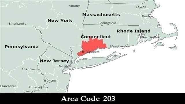 203 Area Code - City State Time zone zip code Map Time now Location