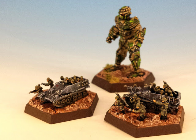 Painted Mechanized Infantry for Battletech