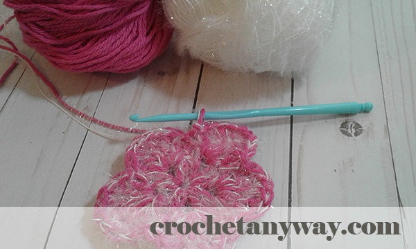 row three, slip stitch, single crochet, sc x2, sc x2, sc x2, sc, sl (in each petal