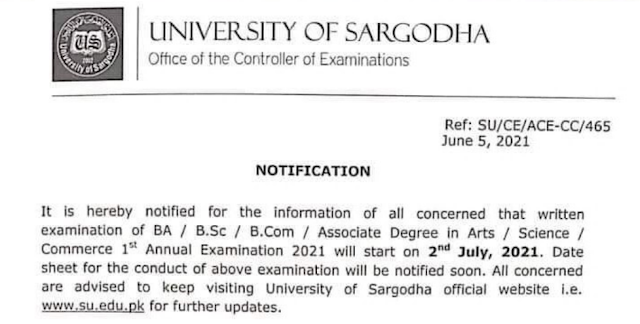BA ADP Associate Degree in Arts Science Commerce 1st Annual 2021 Exams Date Sheet Sargodha University