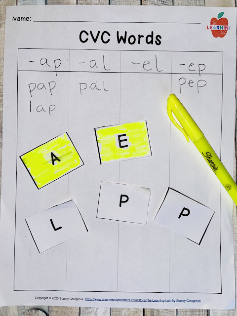 Free CVC Word Sorting Template to make short vowel words, based on common vowel patterns and spelling strategies