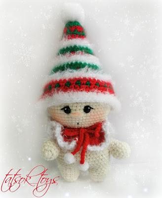 Малыш рождественский гномик крючком