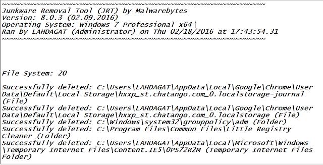 أداة junkware removal tool لتنظيف الحاسوب والمتصفحات من شركة malwarebytes