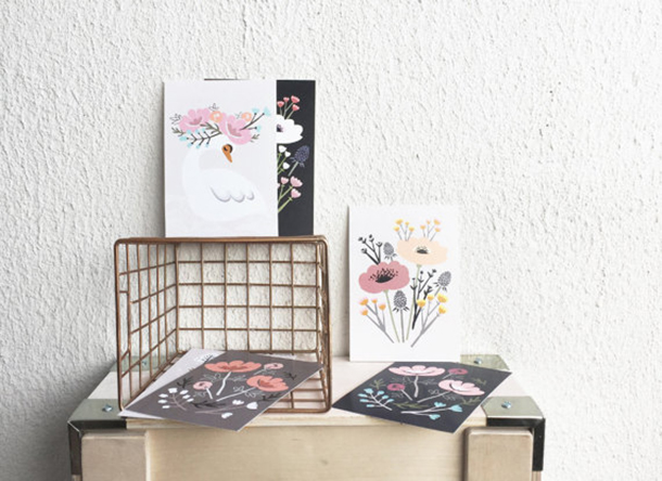 Lulu and Helina floral postcards | Room 334