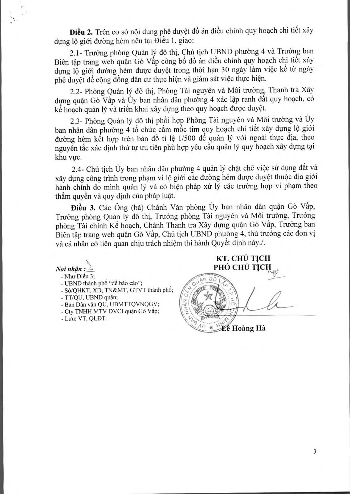 Quyết Định Số 5774/QĐ-UBND Đề Án Lộ Giới Đường Hẻm Tỉ Lệ 1/500 Phường 4 Quận Gò Vấp Tờ 3