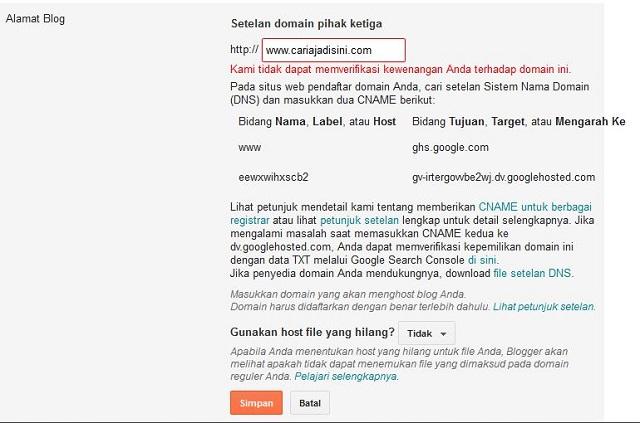 Setting Custom Domain Blogger