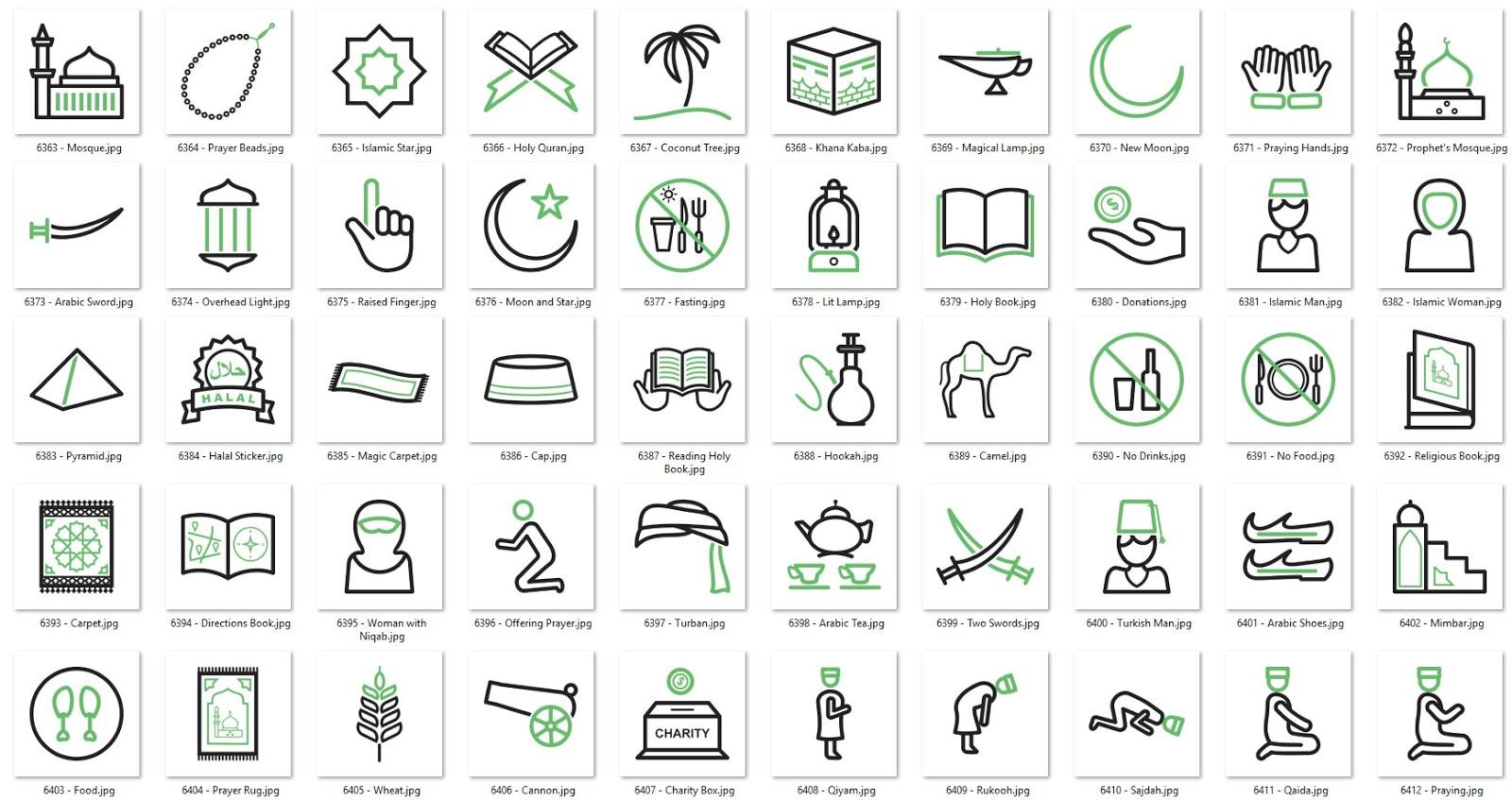 50-islamic-green-black-line-icons