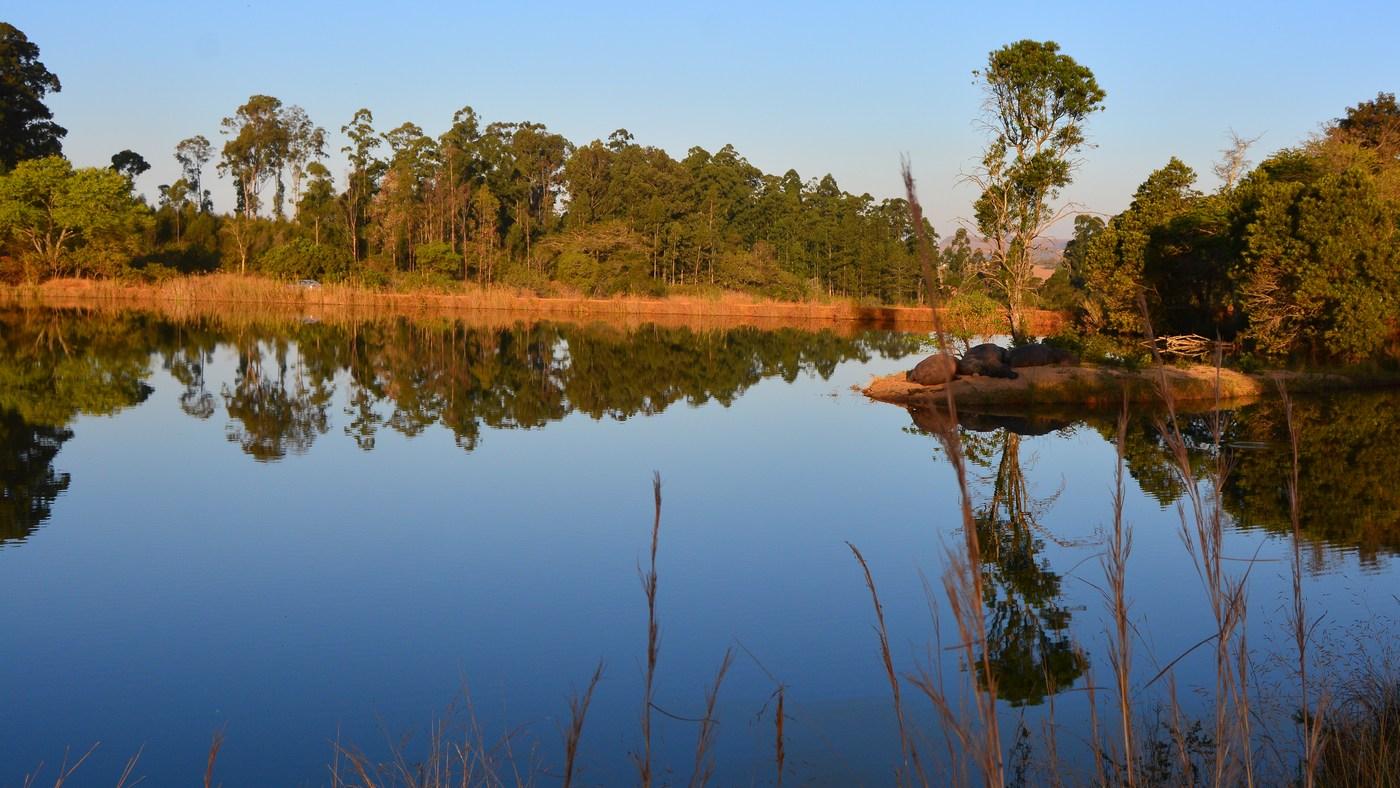 Sérénité du paysage à la tombée du jour : sur la petite avancée de terre à droite, des hippopotames se reposent. Une vraie carte postale...