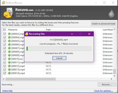 Gambar ilustrasi proses pemulihan file di aplikasi recuva