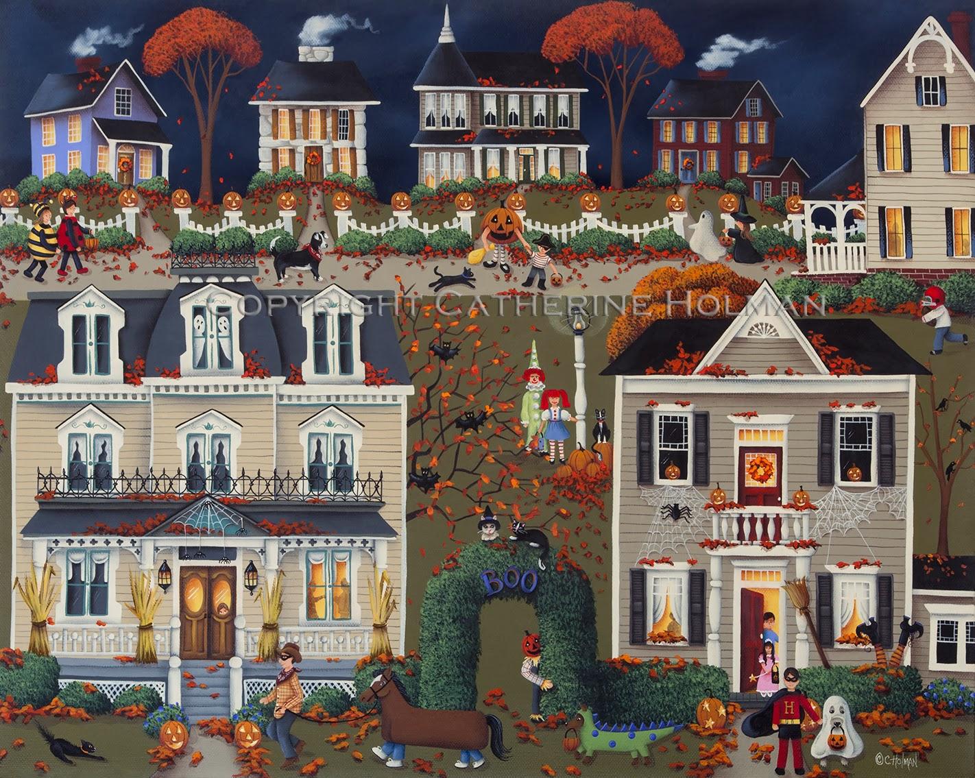 Catherine Holman Folk Art: Halloween Folk Art Painting ...