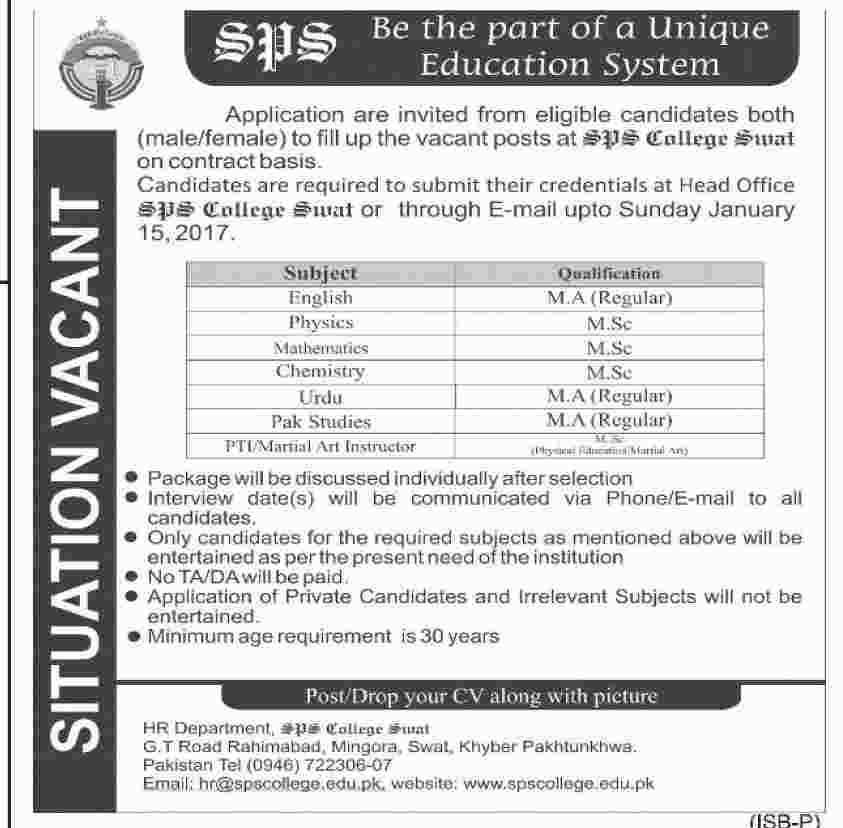 Teachers Jobs in SPS College Swat