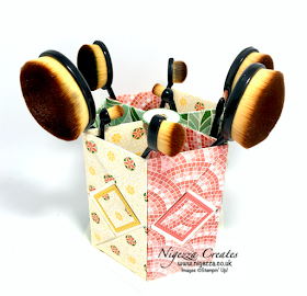 Nigezza Creates with Stampin' Up! & Mosaic Mood DSP a Hexagonal Origami Desk Tidy