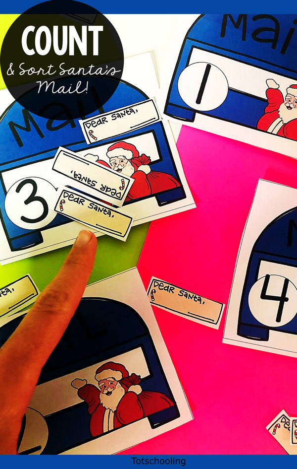 FREE printable Christmas themed counting activity for preschool kids. They will love mailing letters to Santa as they practice number sense skills!