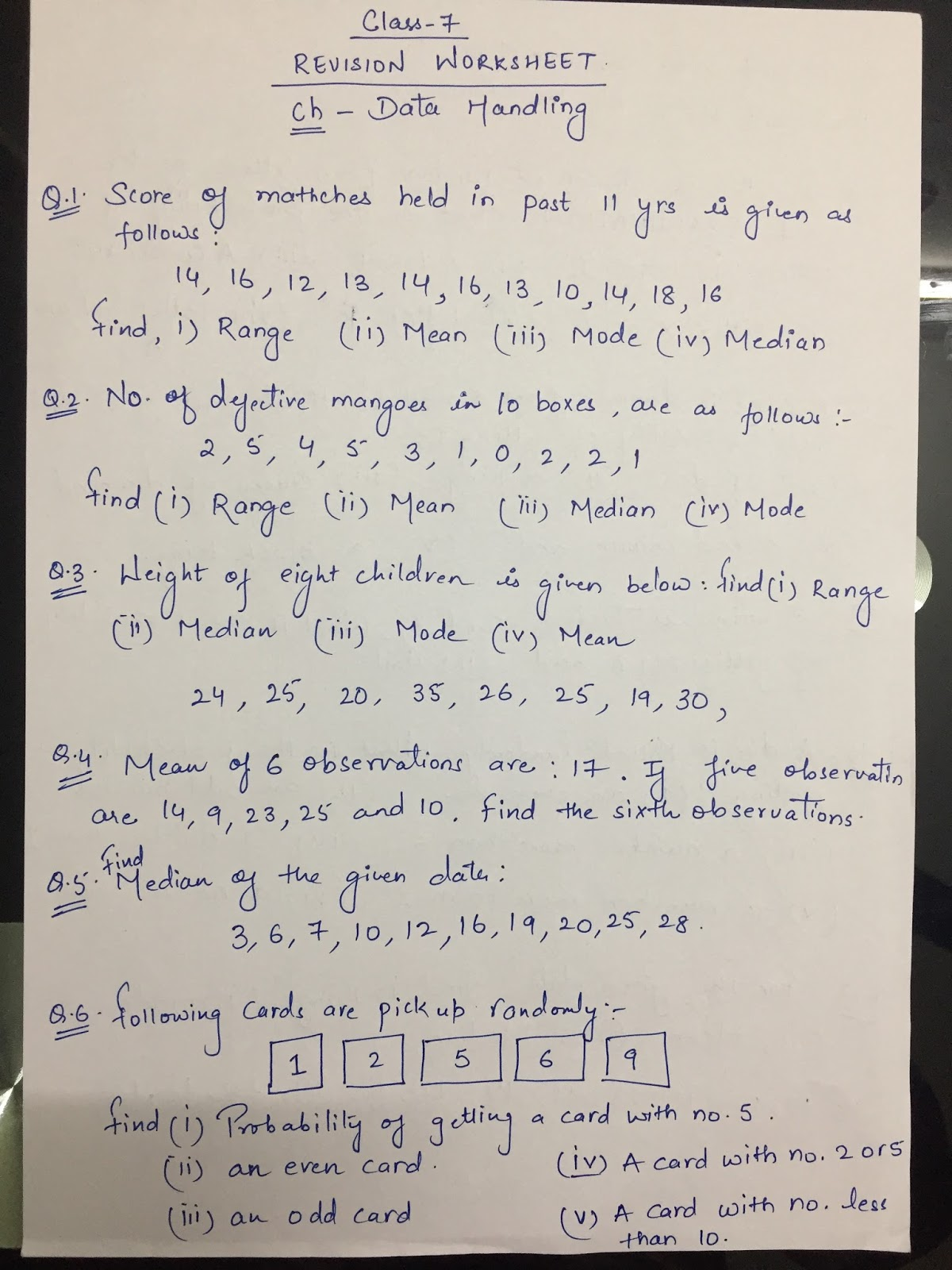 APS, Golconda | Priyanka Gupta: CLASS 7 / MATHS / REVISION WORKSHEET ...