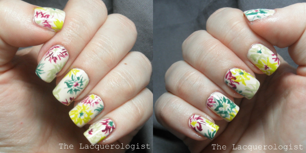 More Abstract Nature Squiggly Flowers Nail Art Casual Contrast