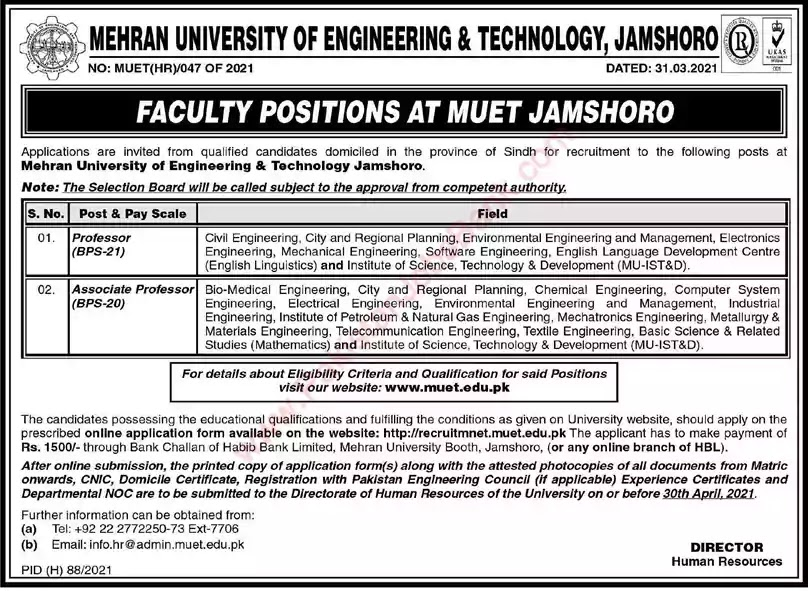 New Jobs in Pakistan Mehran University of Engineering and Technology Jamshoro Sindh Jobs 2021 | Apply Online