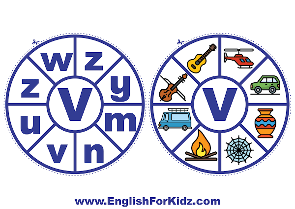 Alphabet matching wheel - letter v - clothespin ABC activities