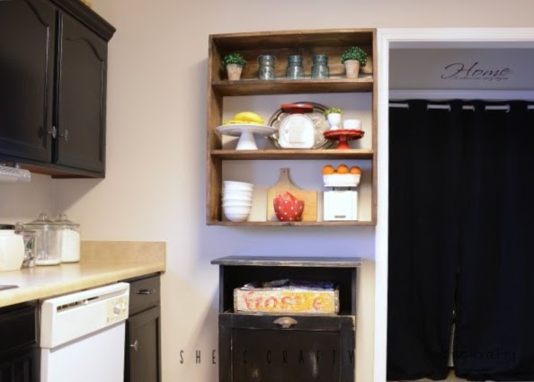 DIY sideboard from black painted kitchen cabinets