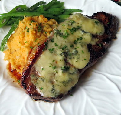 Stilton Steaks with Sweet Potato & Garlic Mash