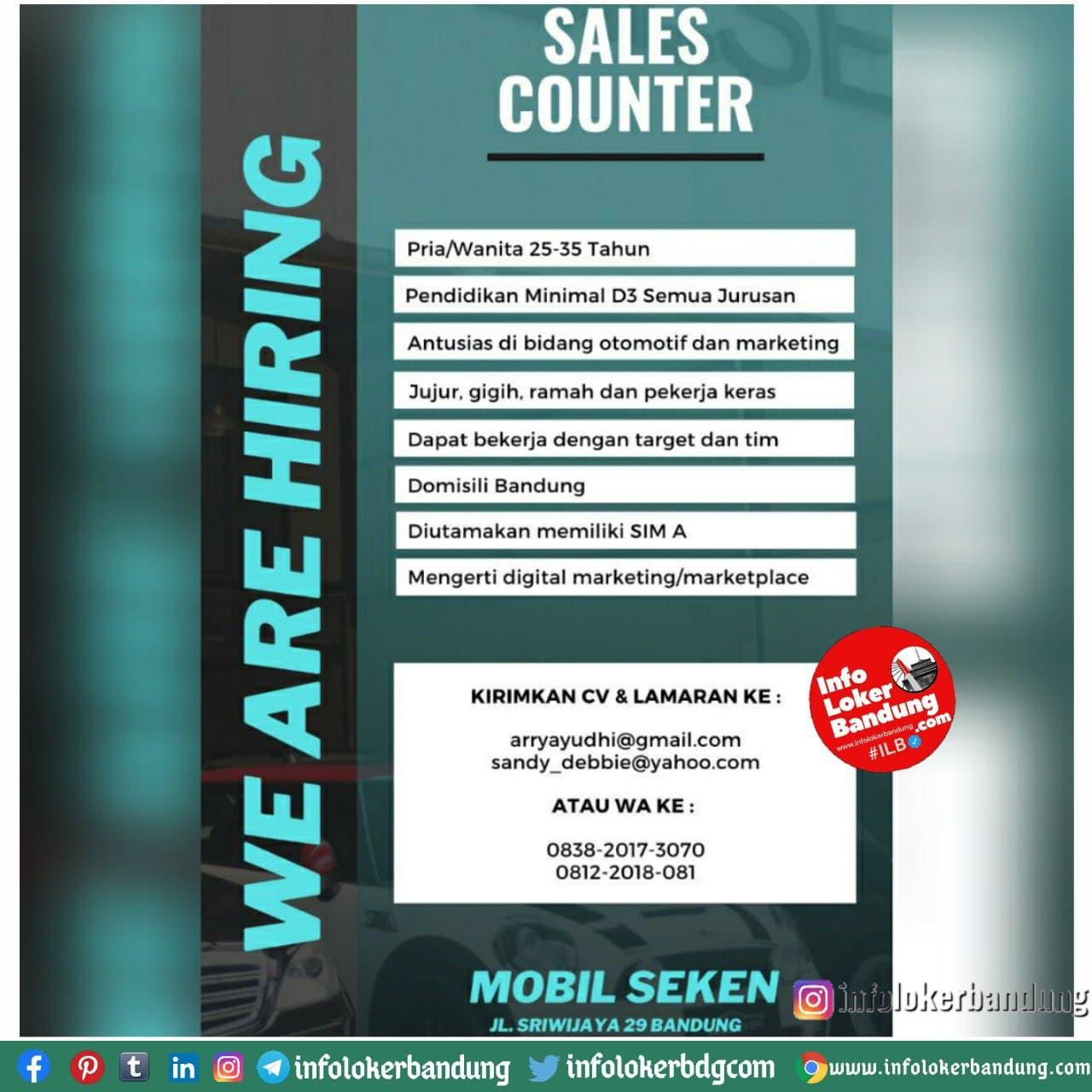 Lowongan Kerja Sales Counter Mobil Sekan Bandung Januari 2021