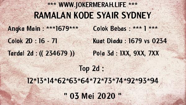 Prediksi Sydney 03 Mei 2020 - Joker Merah Sydney