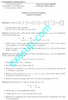 exercices algèbre 1 Espaces vectoriels SMPC FSO oujda