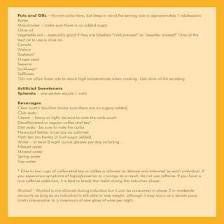 Printable Atkins Induction Food List