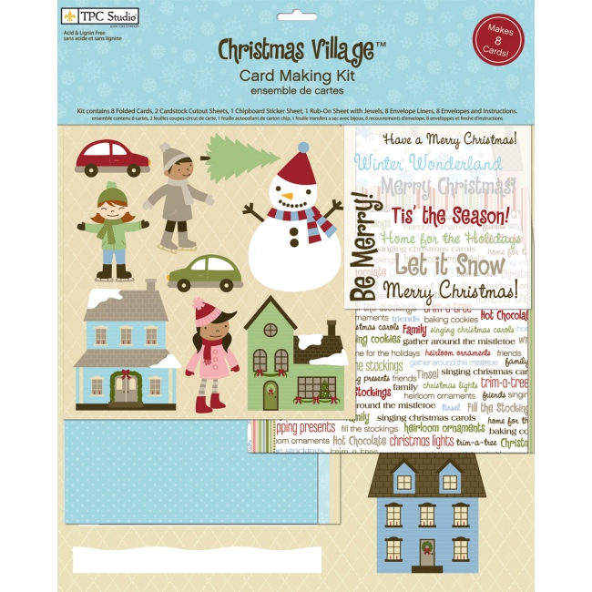 Weekend kits blog christmas card kits diy holiday greetings the christmas village card making kit from tpc studio includes a generous variety of coordinating paper craft materials for making 8 christmas greeting m4hsunfo