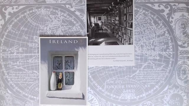 pocztówka, pocztówka z biblioteką, biblioteka, pocztówka z Niemiec, pocztówka z Irladii, pocztówka z oknem i butelkami, pocztówki
