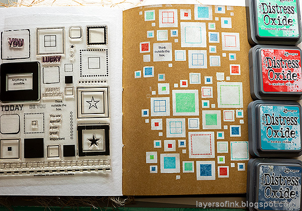 Layers of ink - Shadow Stenciling and Stamping Tutorial by Anna-Karin Evaldsson. Stamp with Simon Says Stamp Mix and Match Squares Stamp Set.