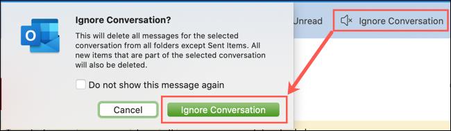 انقر فوق تجاهل المحادثة