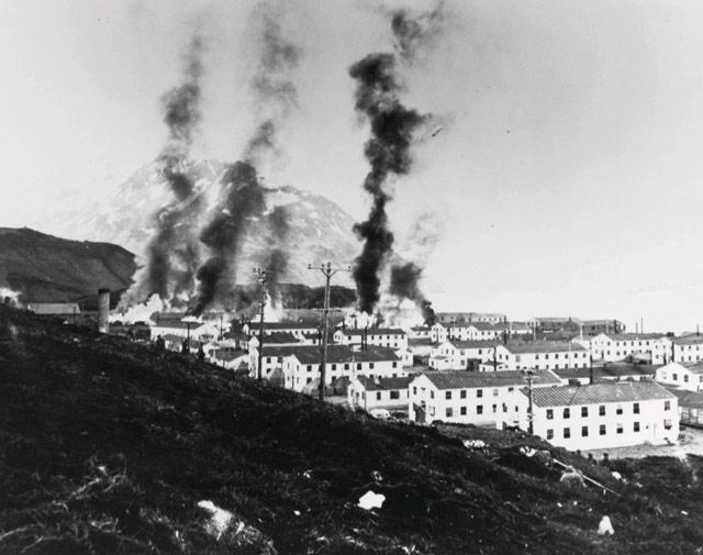 Dutch Harbor on fire, 3 June 1942 worldwartwo.filminspector.com