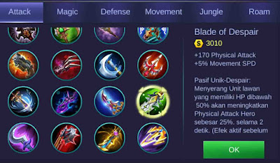 Blade of despair adalah item penambah physical attack terbanyak