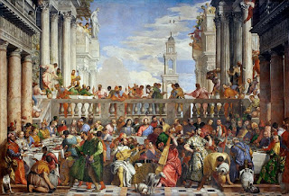 Veronese's painting, Wedding at Cana, full of figures and with beautiful colours, is one of his most famous works