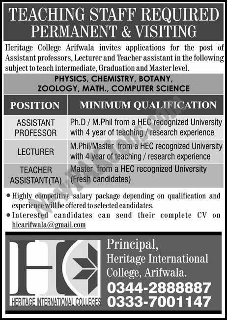 New Jobs in Heritage College Arifwala for Assistant Professor, Lecturer, Teachers Jan 2018