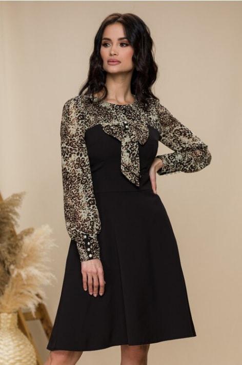 Rochie eleganta scurta de seara neagra cu animal print
