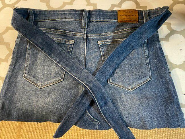Denim apron made from denim jeans